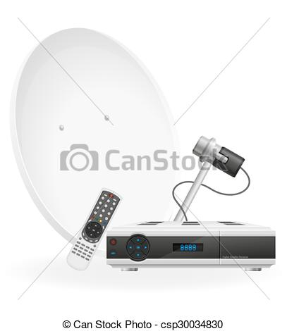 Vectors of digital satellite receiver vector illustration isolated.