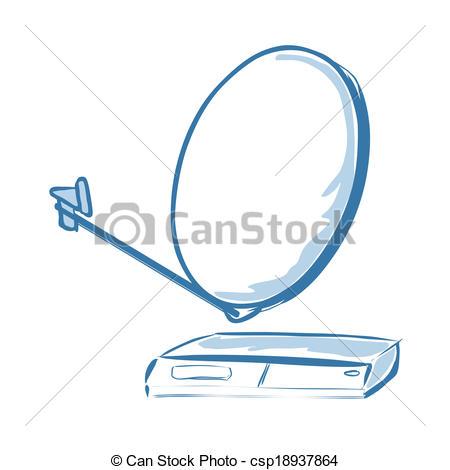 Clip Art Vector of Satellite receiver.