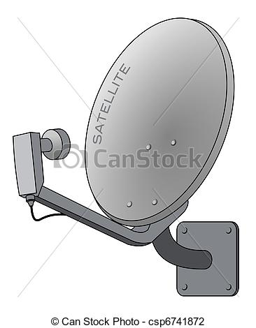 Vector Illustration of Satellite dish isolated on white as vector.
