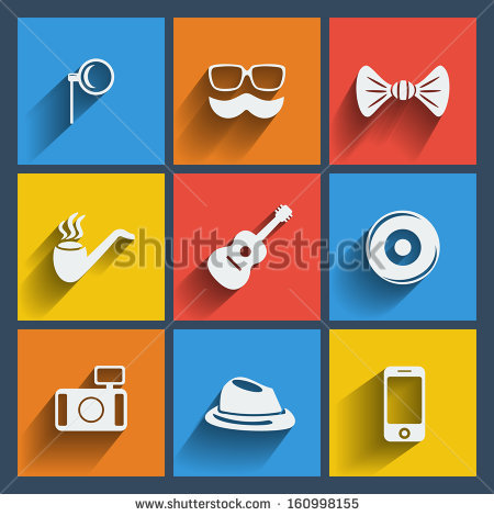 Set Of 9 Hipster Vector Web And Mobile Icons In Flat Design.