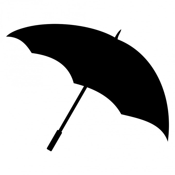 Free illustration: Umbrella, Brolly, Black, Silhouette.