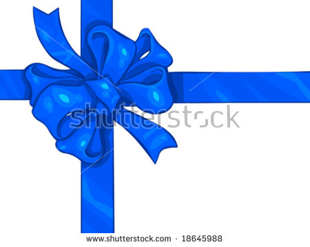 Vector Clip Art Illustration Of A Blue, Holiday, Satin Ribbon And.