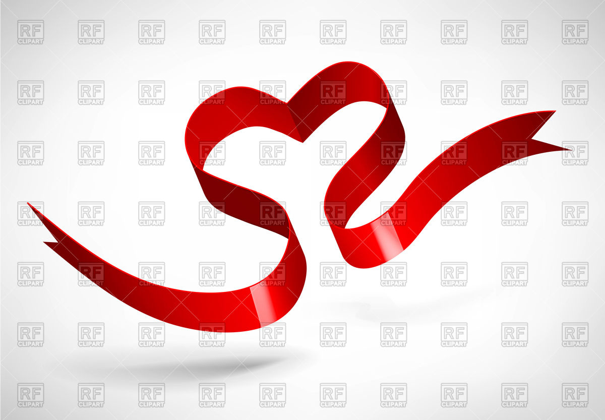 Red heart of satin ribbon Vector Image #74767.