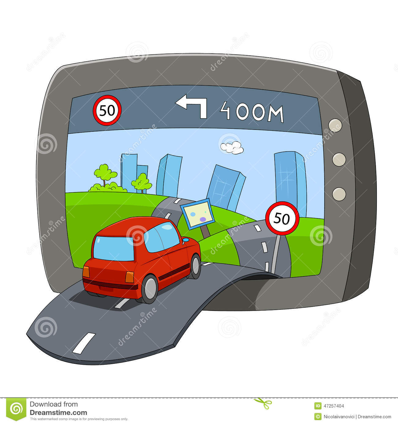 Sat Nav Stock Vector.