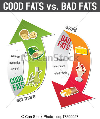 Vector Illustration of Good fats and bad fats, polyunsaturated and.
