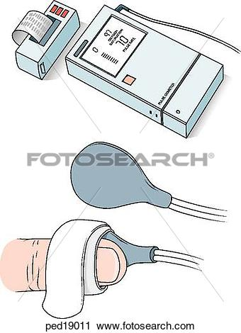 Clipart of (Top) Freestanding portable pulse oximeter displaying.