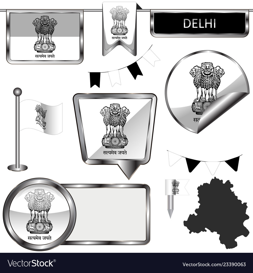 Glossy icons with flag of delhi india.