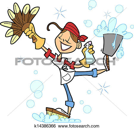 Clipart of Cleaning Girl k8829272.