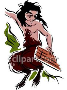 Saucy Centaur Playing the Panpipes Royalty Free Clipart Picture.
