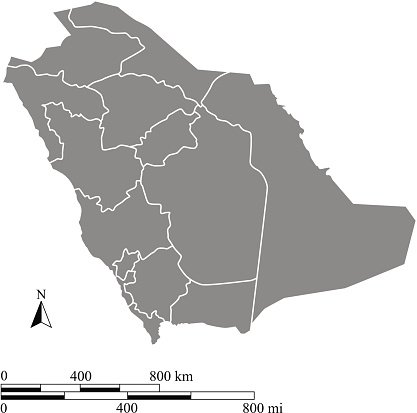 Saudi Arabia map outline vector with scales of miles Clipart.