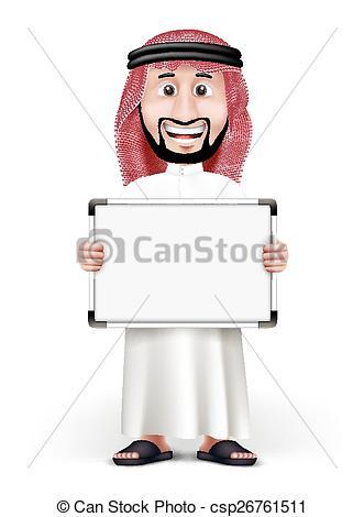 Vector Clip Art of 3D Handsome Saudi Arab Man in Traditional Dress.