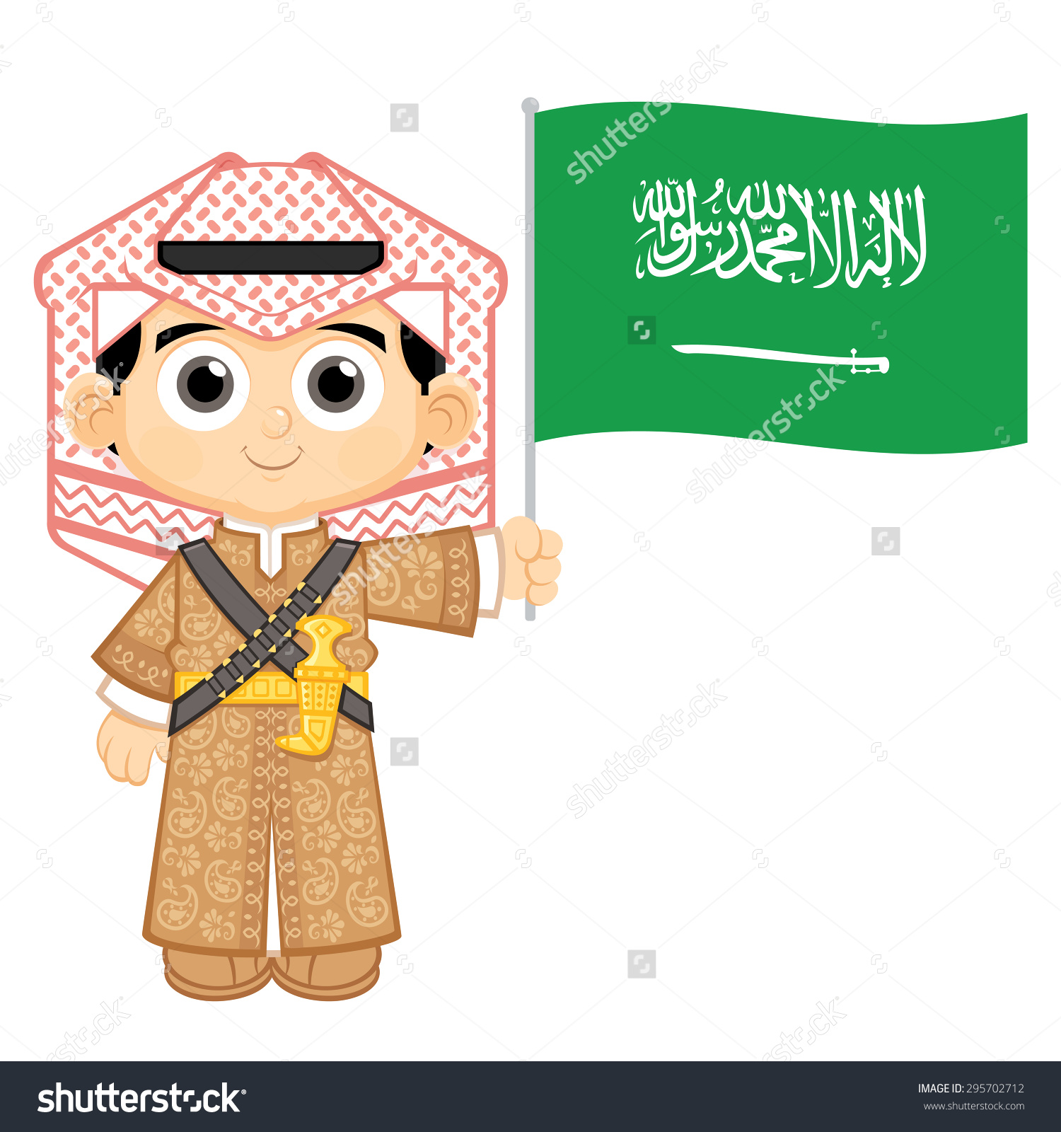 Child Holding Saudi Arabia Flag Stock Vector 295702712.