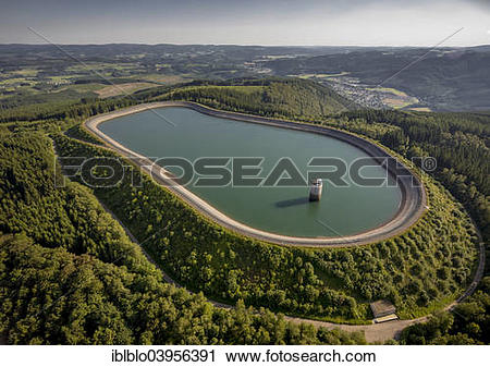 """Stock Photography of """"Aerial view, upper reservoir of the."""