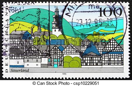 Stock Images of Postage stamp Germany 1995 Sauerland, Landscape.