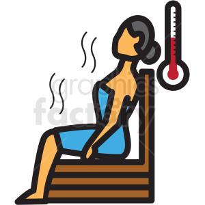woman in sauna vector icon clipart . Royalty.