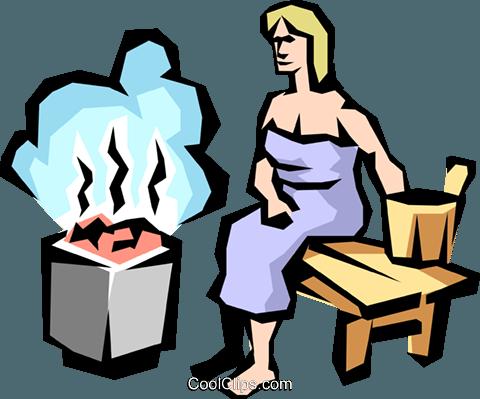 Sauna lady Royalty Free Vector Clip Art illustration.