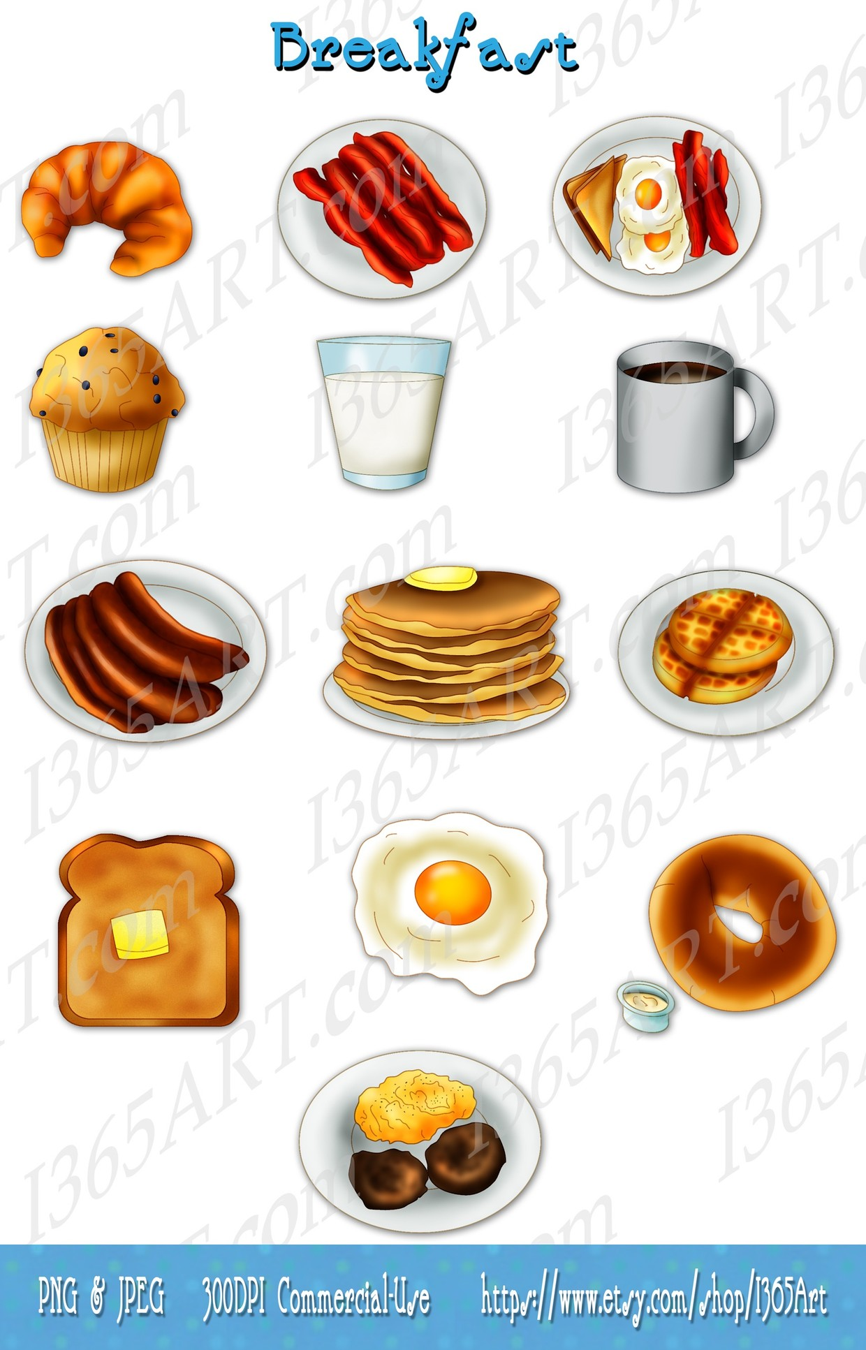 Breakfast Clipart clip art, Graphics, Invitations, bacon, eggs, pancakes,  sausage, waffles.