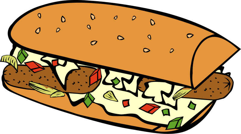 Image result for sausage sandwich clipart.