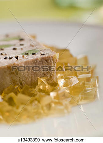 Stock Photography of Foie Gras and Baby Leeks with Sauternes Jelly.