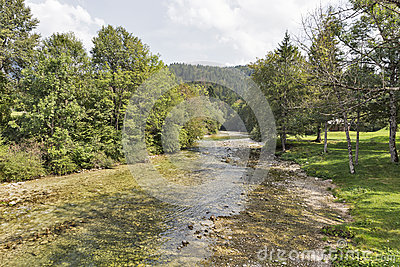 Sava River,Lake Bohinj,Slovenia Royalty Free Stock Photo.