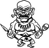 Clipart of , cannibal, cartoon, fang, head, head hunter, monster.