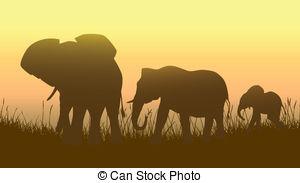 Clipart Vector of Wild animals in African savanna..