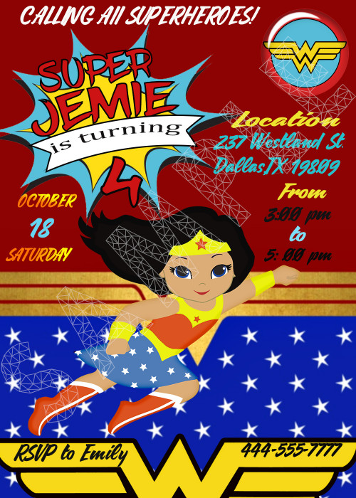 Wonder Woman little clipart girl printable birthday invitation, JPEG.