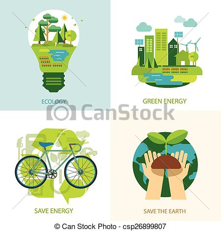 Vector Clipart of save the world and clean energy concept.