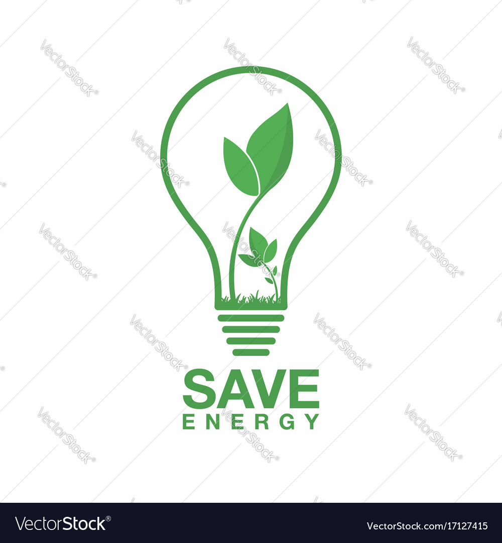 Ecology logo energy saving lamp symbol icon eco.