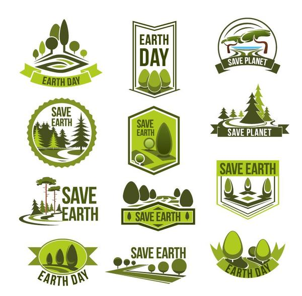 Save earth logos design vector free download.