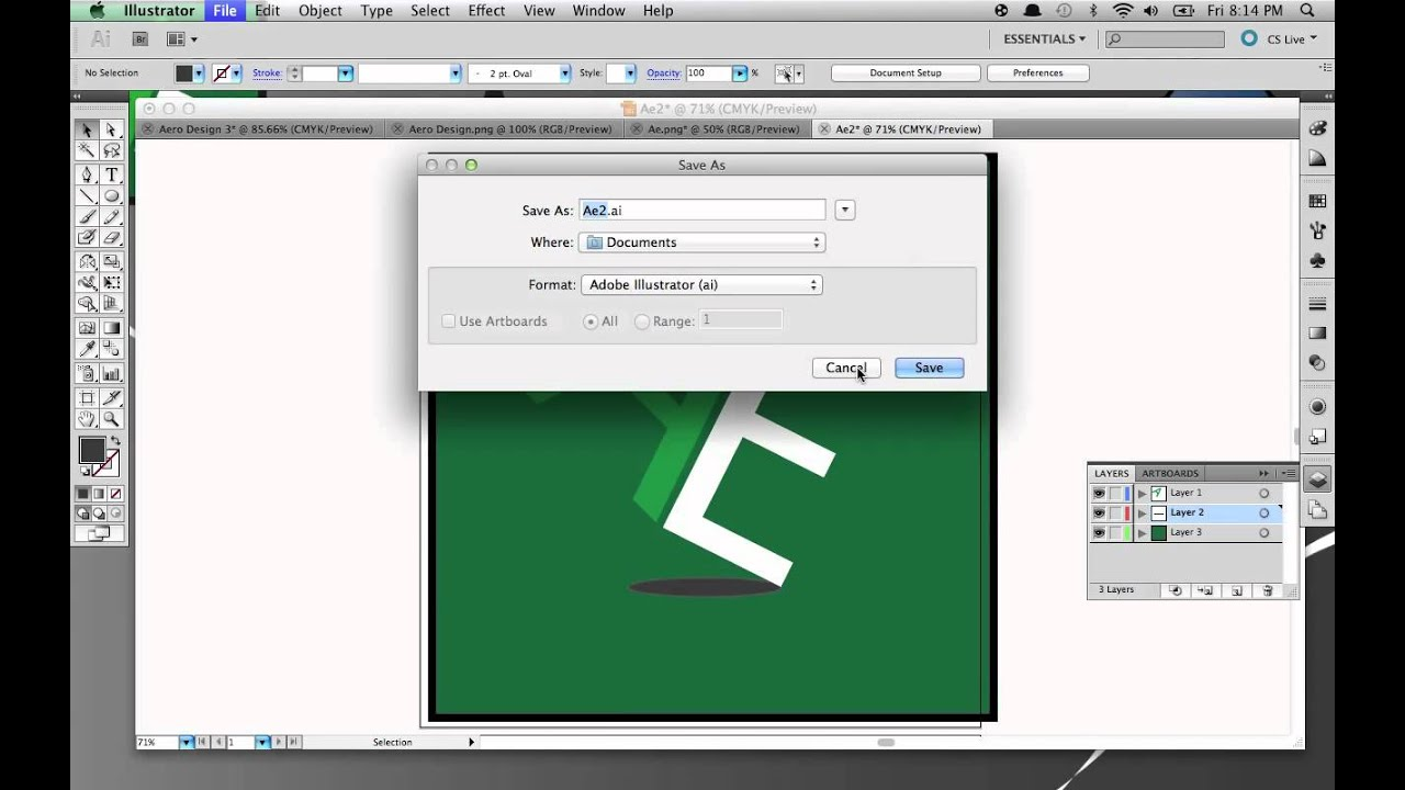 How to save your project as a PNG file on Adobe Illustrator CS5.