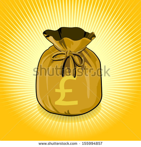Vector Bags Of Money Show A Success./British Pound Sterling Gold.