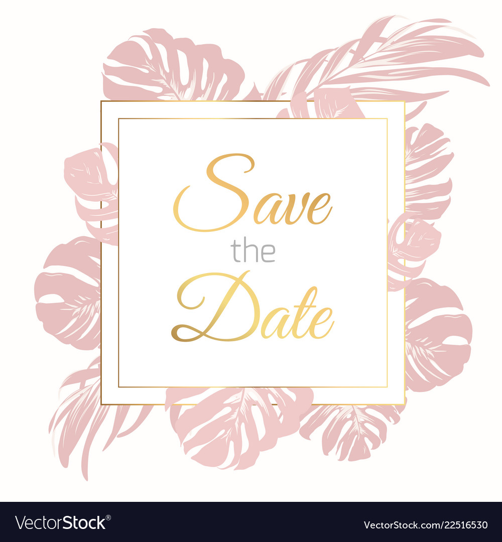 Save the date border frame card template exotic.