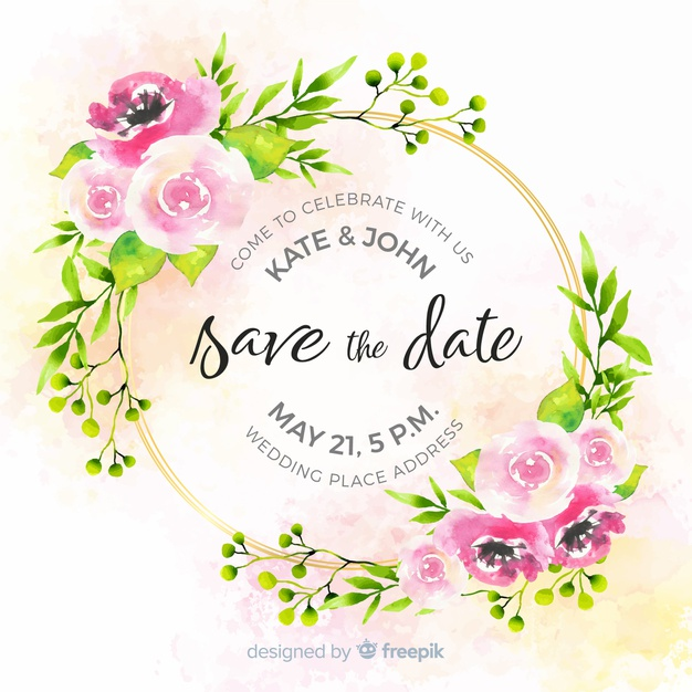 Watercolor floral save the date template Vector.