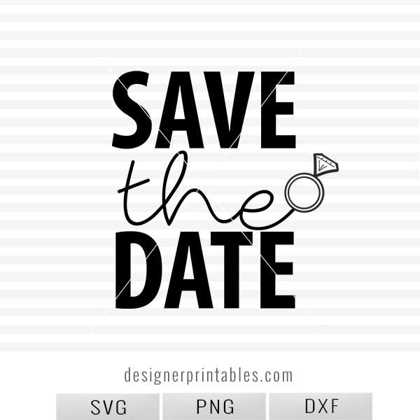 SVG, PNG, DXF: , Save the Date (wedding ring).