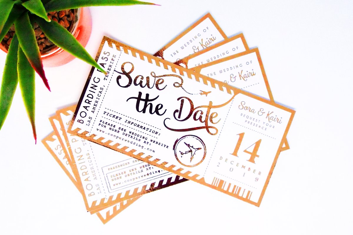 Save the Date Plane Ticket Template.