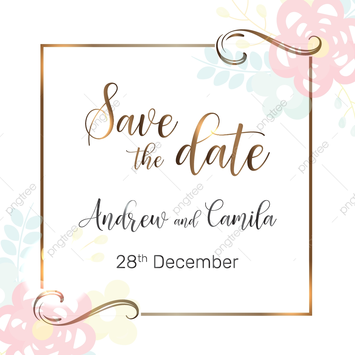 Beautiful Save The Date Wedding Invitation Template.