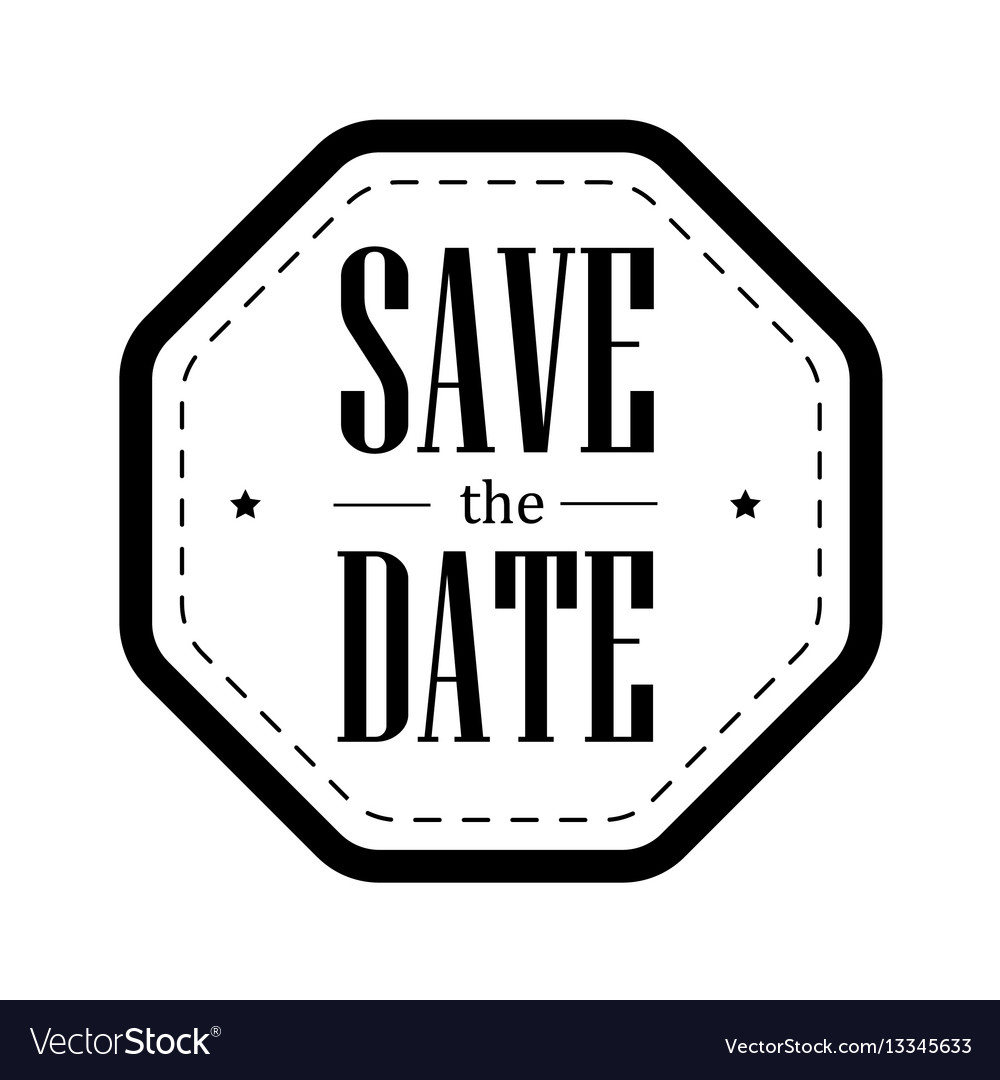 Save the date vintage stamp.