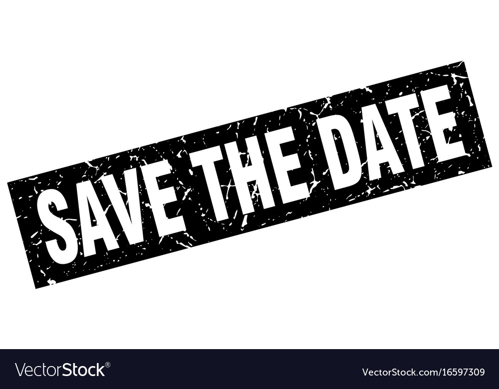 Square grunge black save the date stamp.