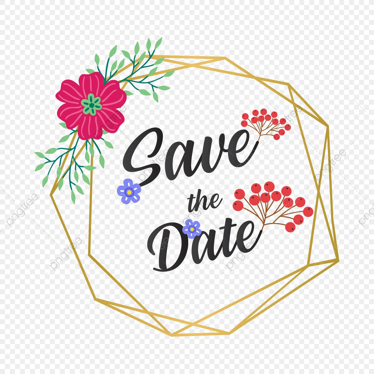 Beautiful Floral Save The Date Vector Illustration.