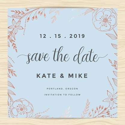 Save The Date, Wedding Invitation Card Template With Flower.