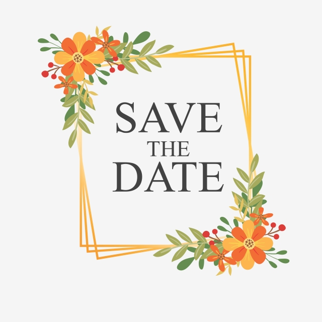 Save The Date With Flower Frames, Wedding, Wedding Card.