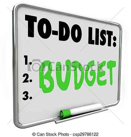 Clip Art of Budget To Do List Accounting Pay Bills Plan Expenses.