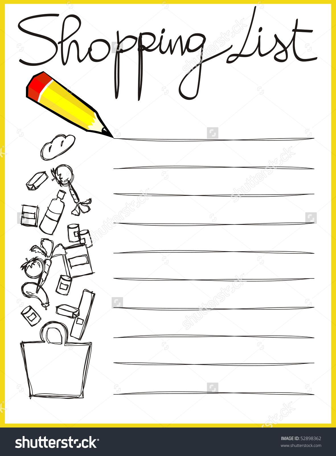 shopping list clipart