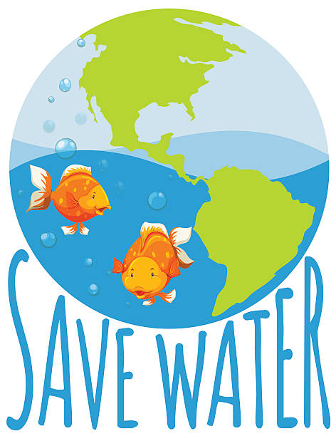 Background Of The Save Water Clip Art, Vector Images.