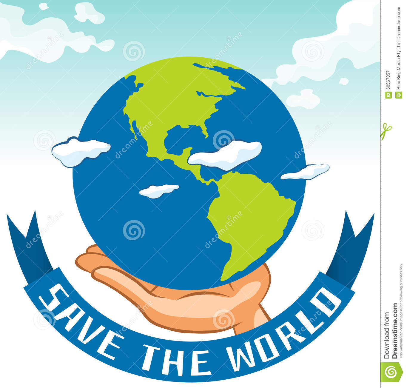 Save The World Sign With Earth On Hand Stock Vector.