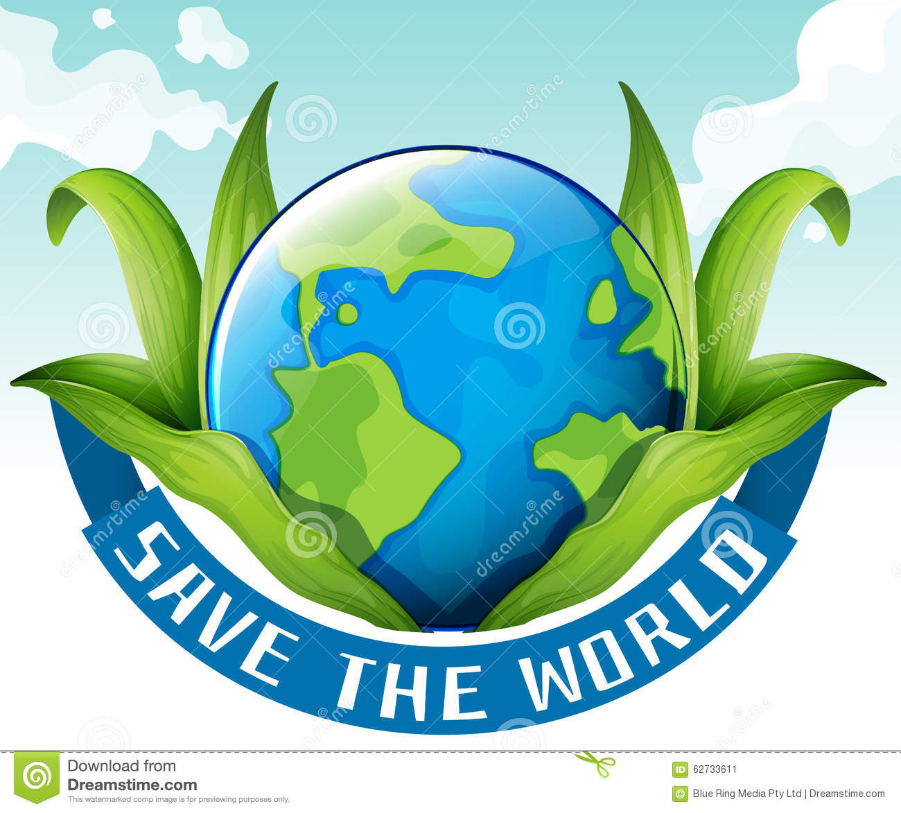 Save World Theme Earth Plant Stock Illustrations.