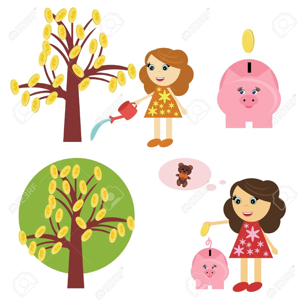 Girl saving money clipart.