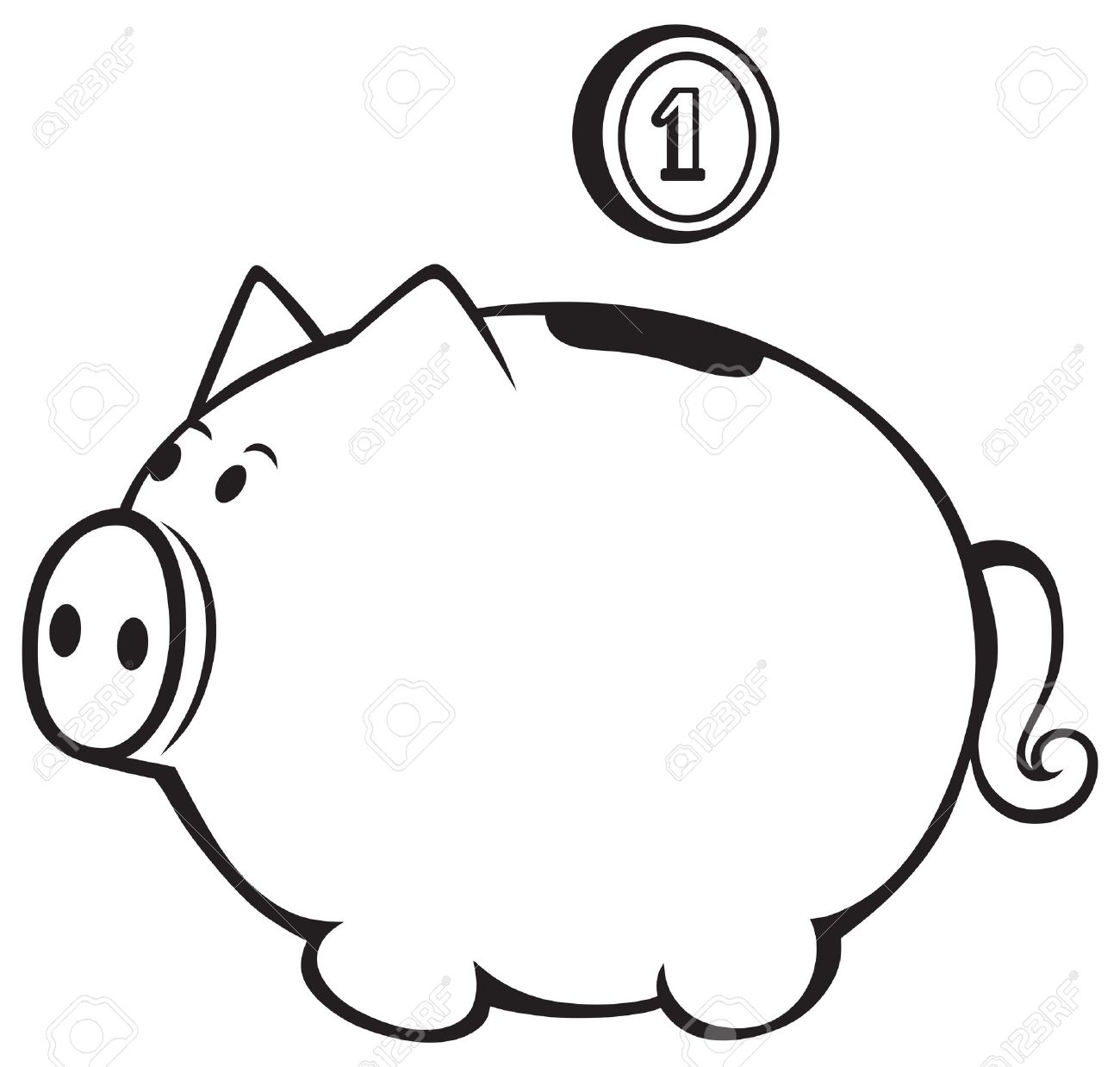 Black and white piggy bank clipart.