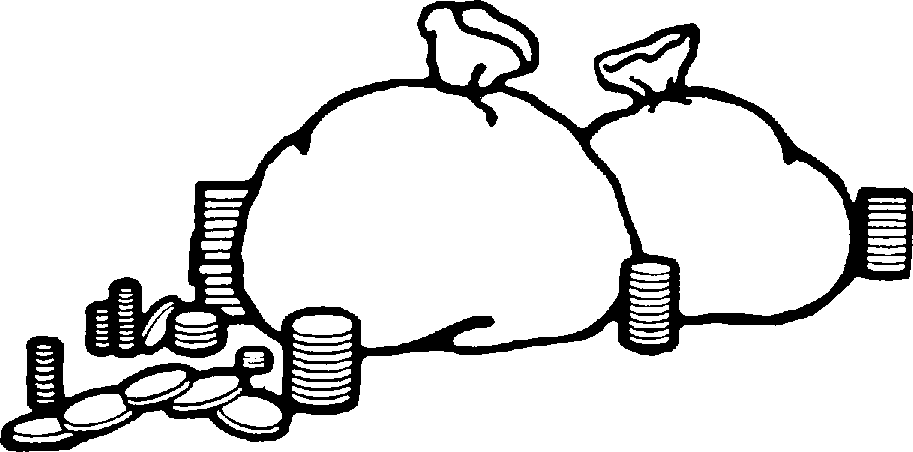 Money bag clipart black and white.